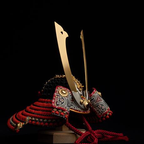 聖徳太子兜 薄に蜻蛉屏風飾り