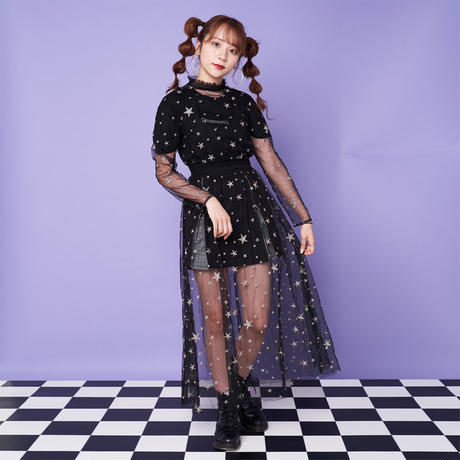 <ANDGEEBEE>star embroidery tulle one piece AG183OP07