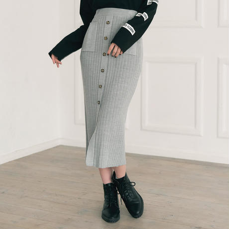 <ANDGEEBEE>2way front button knit skirt AG183KT02