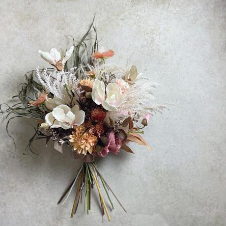DRY BOUQUET ドライフラワー+造花 ブーケ(ダリア×ラナンキュラス×マグノリア×ヤシの葉など)