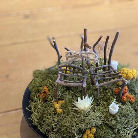 枝で作ったイスがかわいい リングピロー お祝い ギフト ドライフラワー ウエディング ブライダル インテリア 結婚式