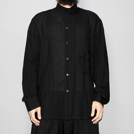 SS16 Yohji yamamoto pour homme / Pleated cut off design stand collar LS shirt