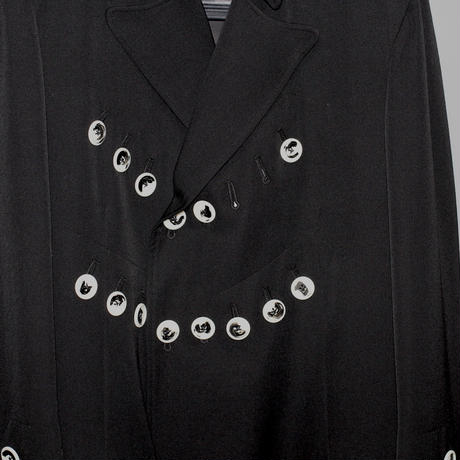 Yohji yamamoto pour homme / AW19 Wool gabardine deformed collar white button Jacket