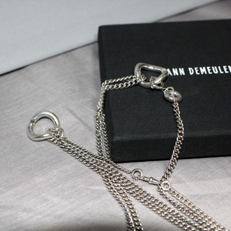 ANN DEMEULEMEESTER / Silver multi chain necklace (UNI)