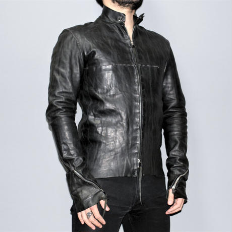 M.A+ by Maurizio amadei / Spiral zip sleeve leather biker jacket