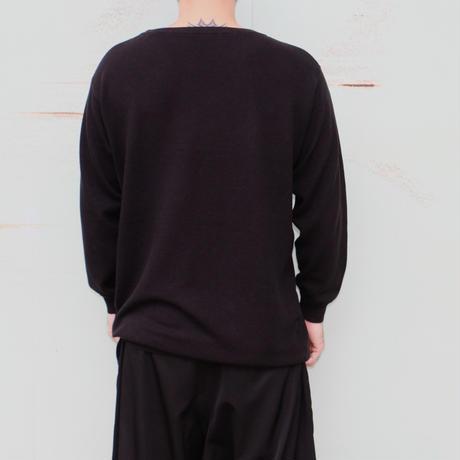 "the Sakaki / the Bang / Long sleeve Uneck ""編み物""(Amimono/ Knit)--BLACK--"