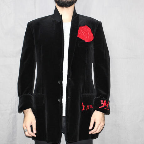 Yohji yamamoto pour homme / FW2003 Rose Flower Leather Patch Velvet Jacket.