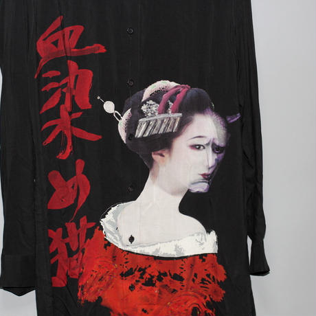 Yohji yamamoto pour homme (Black scandal)/ 18AW  Double collar print long shirt