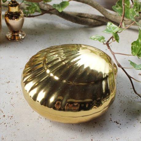 Vintageポーセリン コットンボックス 小物入れ シェルゴールド GREGOR  BAVARIA  GERMANY
