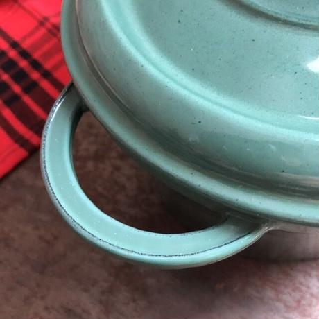 GENEVIEVE LETHU ジュヌビエーヴ レチュ ヴィンテージ 鋳物ホーロー鍋 グリーン オーバル ★★★★★