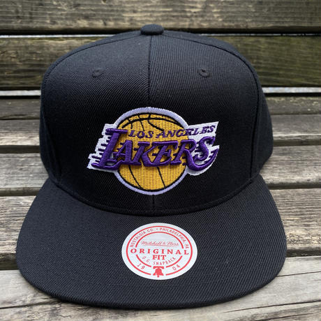 Mitchell&Ness ミッチェル&ネス LA ロサンゼルス Lakers レイカーズ 公式 スナップバックキャップ 黒