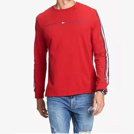 海外限定デザイン TOMMY HILFIGER トミーヒルフィガー  長袖 Tシャツ ロンT レッド 赤 ロゴ テープ袖 ロングスリーブ USA正規品