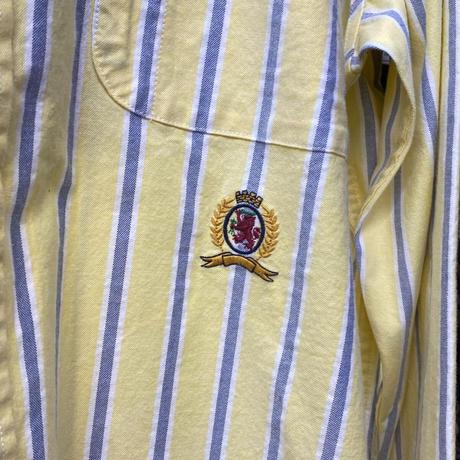 35th限定 TOMMY HILFIGER トミーヒルフィガー CREST ストライプ ボタンダウン 長袖シャツ 黄色