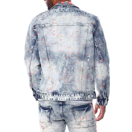 スモークライズ SmokeRise 蛍光 デニムジャケット Gジャン Neon オレンジ ペイント 色落ち クラッシュ USA正規品 ストレッチ