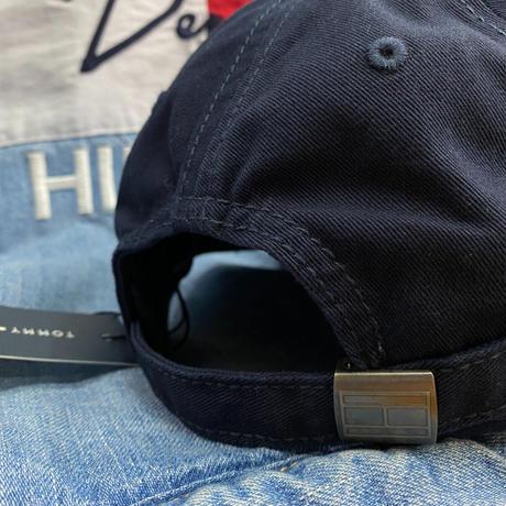 トミーヒルフィガー TommyHilfiger 紺 ストラップバック キャップ 帽子 ローキャップ 刺繍 ビッグフラッグロゴ FLAG サイズ調節可
