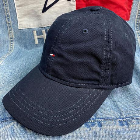 トミーヒルフィガー TOMMY HILFIGER ストラップバック ダッドキャップ 帽子 ローキャップ 紺 ネイビー マイクロフラッグロゴ
