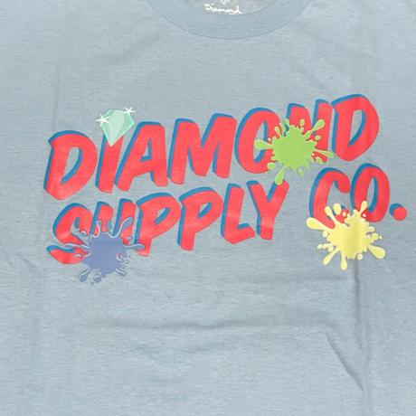 【M】  ダイヤモンドサプライ Diamond Supply Co. 半袖 Tシャツ 水色 ペイント POP (T24)