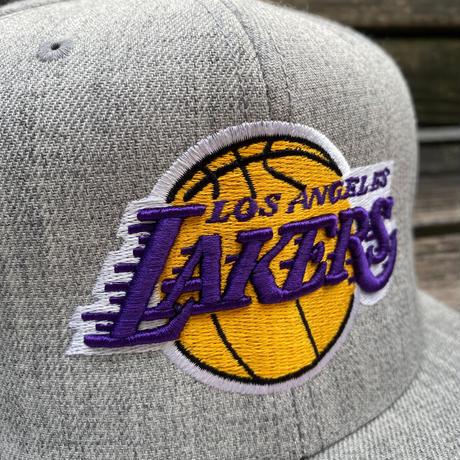 Mitchell&Ness ミッチェル&ネス NBA ロサンゼルス LA レイカーズ LAKERS 公式 スナップバックキャップ グレー 帽子 バスケット