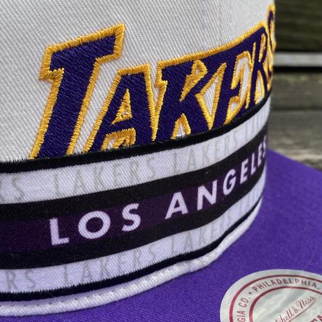 Mitchell&Ness ミッチェル&ネス LA ロサンゼルス Lakers レイカーズ 公式 Stripz スナップバックキャップ