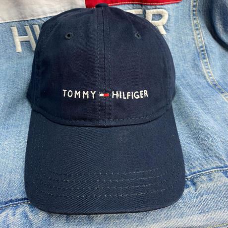 トミーヒルフィガー TOMMY HILFIGER レザーストラップバック キャップ 帽子 ローキャップ 紺 ネイビー クラシックロゴ サイズ調節可