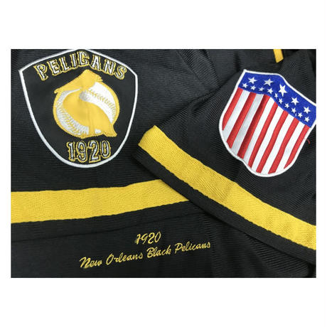 NEGRO LEAGUE 『 Pelicans ニューオリンズ ペリカンズ 』 公式 ベースボールシャツ 野球 ユニフォーム 前開き ナンバリング 9 黒 黄色