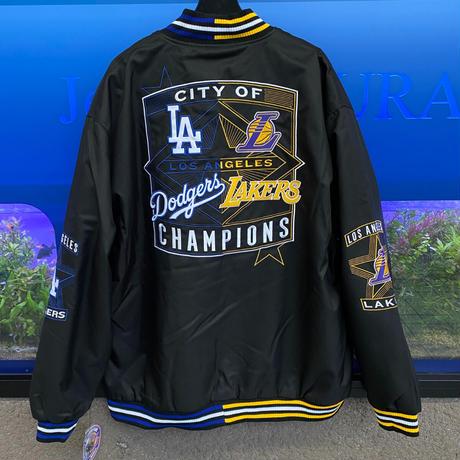 【限定】優勝記念スタジャン JHデザイン City Of Champions レイカーズ NBA ドジャース MLB 黒