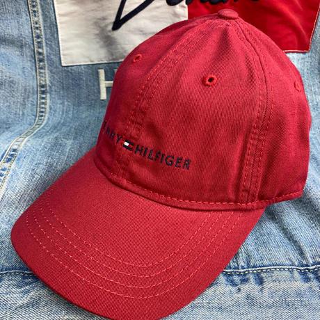 トミーヒルフィガー TOMMY HILFIGER レザーストラップバック キャップ 帽子 ローキャップ バーガンディ Wine クラシックロゴ サイズ調節可