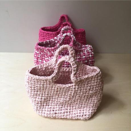 裂き布バッグS   rose