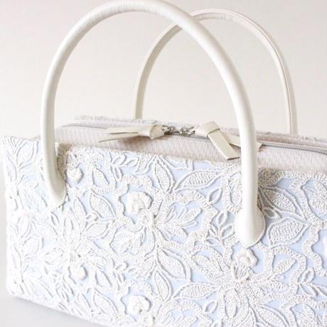 利休バッグ R_1037 / light blue & lace
