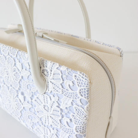 利休バッグ  / White  Lace & Blue Linen / R_1053