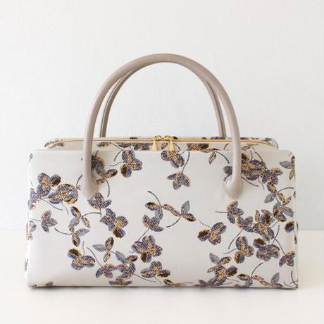 利休バッグ R_1018 / Silver botanical pattern