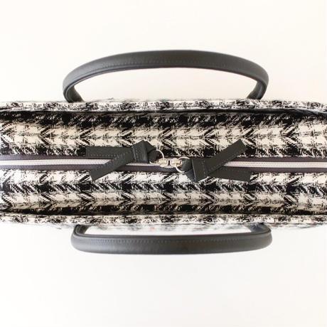 利休バッグ R_1015 / black  white check  sequins