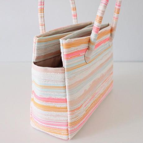 和装トートバッグ W_1032 / Pink Stripes