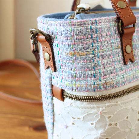 B229_2 pocket shoulder tote / lightblue mix tweed × lace