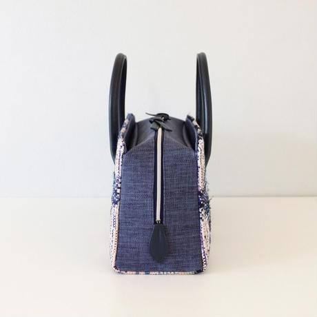利休バッグ  R_1011 / Malhia kent tweed fabric /navy