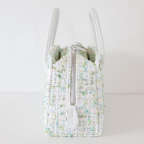 利休バッグ / White Green tweed / R_1061