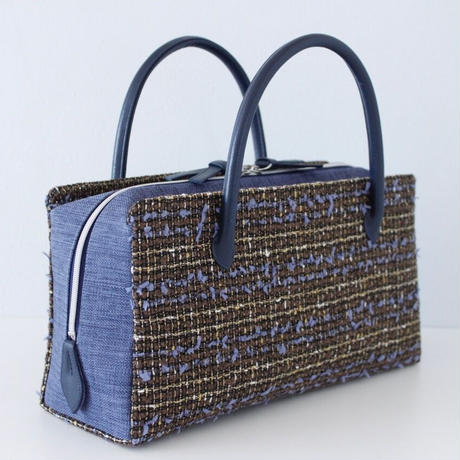 利休バッグ R_1021 / Brown Blue fancy tweed