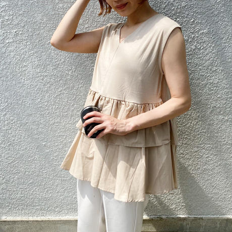 2way frill sleeveless tops
