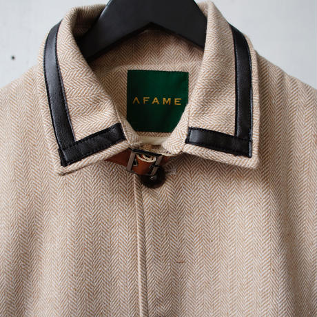 AFAME Leather Piping Sten Collar Jacket