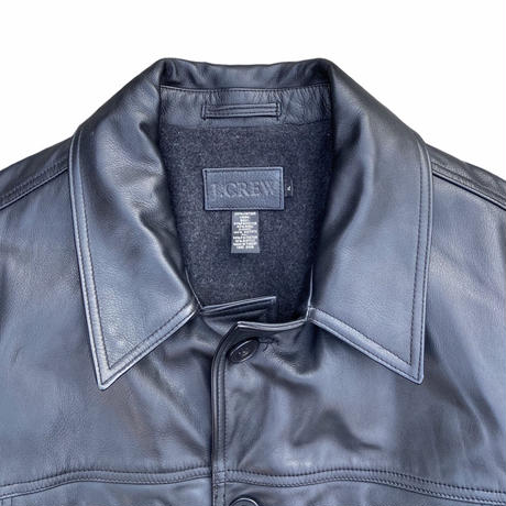 """""""J.CREW"""" leather jacket with liner wool / size XL (fit like L-XL)"""