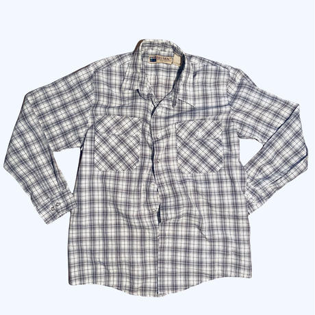 BIG MAC check work shirt / size XL (fit like L) / made in USA / color:gray x white