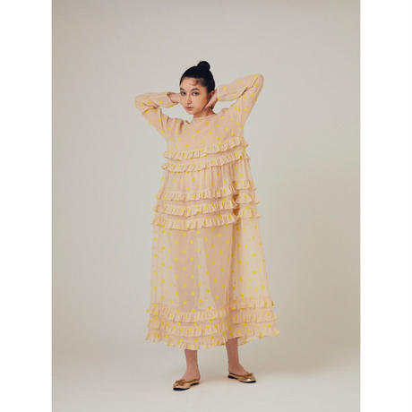 original fabric flocky dot dress / yellow × ivory