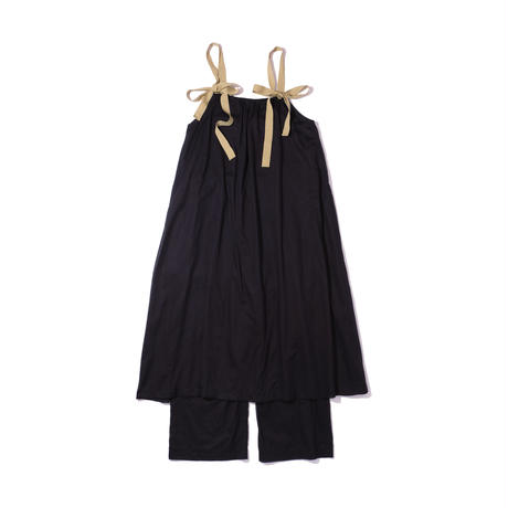 dress all-in-one / black × garden green