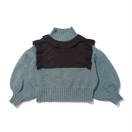 neck romance sweater / sax blue