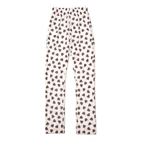 heart print easy pants / raisin purple