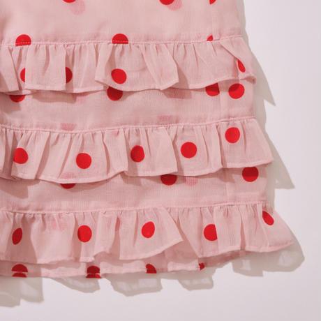 original fabric flocky dot dress / red × pink