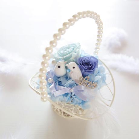 "DT's Wedding  ""tous les deux""(BLUE)♡結婚祝い♡幸せを願う小鳥のリングピロー"