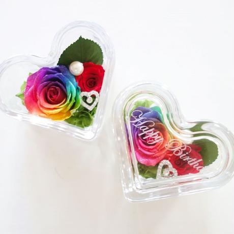 """名入れギフト☆メッセージ刻印》message ROSE """"HEART CUBE"""" レインボーローズを隠した小さな宝箱"""