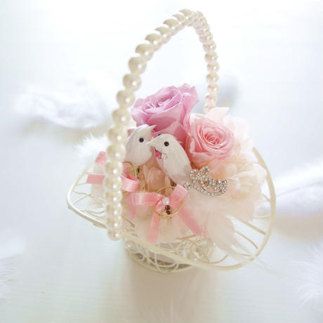 "DT's Wedding  ""tous les deux""(PINK)♡結婚祝い♡幸せを願う小鳥のリングピロー"