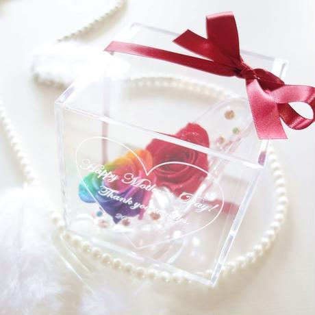 """《名入れギフト☆メッセージ刻印》message ROSE """"RED Bijou"""" レインボーローズで彩ったガラスの靴のフラワーボックス"""